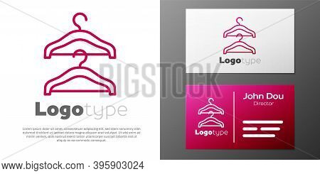 Logotype Line Hanger Wardrobe Icon Isolated On White Background. Cloakroom Icon. Clothes Service Sym