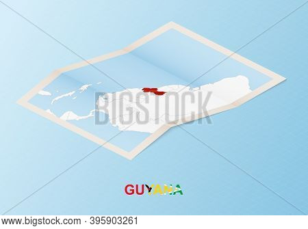 Folded Paper Map Of Guyana With Neighboring Countries In Isometric Style On Blue Vector Background.