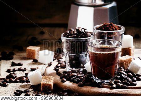 Three Types Of Coffee: Grinded Arabica Coffee Beans, Freshly Brewed Espresso, Steel Geyser Coffee Ma