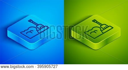 Isometric Line Shovel In Snowdrift Icon Isolated On Blue And Green Background. Square Button. Vector