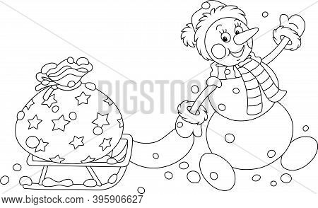 Friendly Smiling Snowman With A Winter Hat, A Warm Scarf And Mittens Carrying A Big Bag Of Holiday G