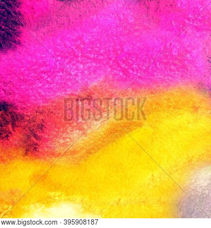 Fuchsia And Yellow Abstract Texture Background, Wax Crayons Drawing.