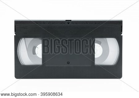Front View Of Vhs Video Tape Cassette Isolated On White Background.