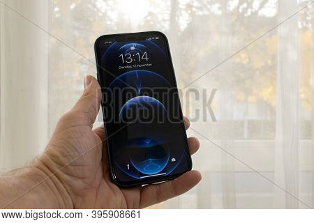 Frankfurt, Germany - November 17th 2020: A German Photographer Bought The New Iphone 12 Pro Max With