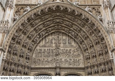 Detail Of A Door Frame At Cathedral Of Our Lady In Antwerp Belgium