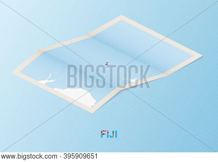 Folded Paper Map Of Fiji With Neighboring Countries In Isometric Style On Blue Vector Background.