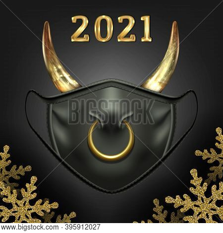 Christmas Black Face Mask, Symbol Of New Year Of The Bull 2021. With Nose Ring And Cow Horns. On A D