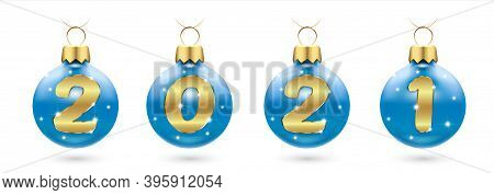 Numbers 2021 From Golden Confetti In New Year S Blue Balls, Christmas Tree Decorations. Festive Layo