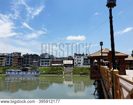 Wood Works On River, Brown Colour Wood Carving. Wooden Art Is The Best Known Craft Seen In Cottage I