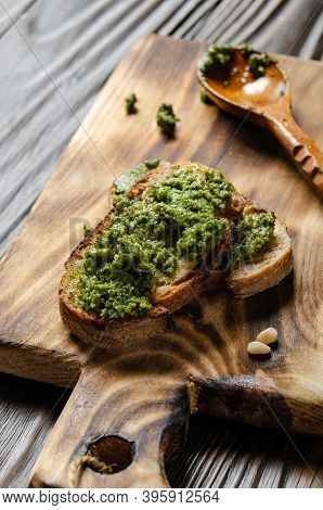 Small Sandwiches With Genovese Pesto Sauce Made Of Basil, Pine Nuts, Olive Oil, Parmesan Cheese And