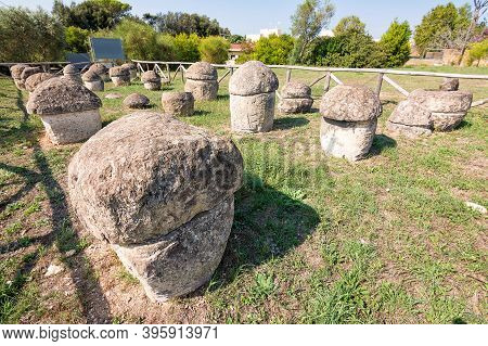 Some Etruscan Sepulchral Stones In Tarquinia (italy)