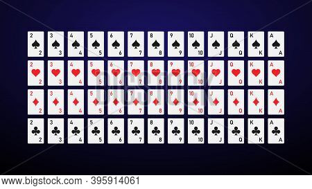 Deck Of Cards In A Minimalistic Style. Playing Cards Without Pictures. Vector Illustration.