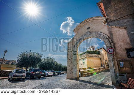 Montalto Di Castro, Italy - 18 Semptember 2020: Entrance Door In The Ancient Area Of Montalto Di Cas