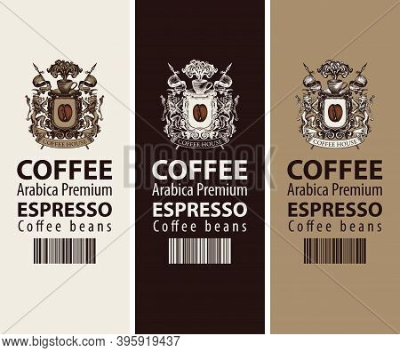 Set Of Coffee Labels For Coffee Beans. Vector Labels With A Coat Of Arms, Barcode And Words Espresso