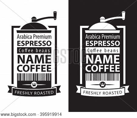 Set Of Two Black And White Vector Labels For Freshly Roasted Coffee Beans In Retro Style. Coffee Lab