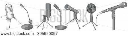 Vector Microphones Set. Audio Technology, Musical Record Symbol. Modern Microphones In Different Sty