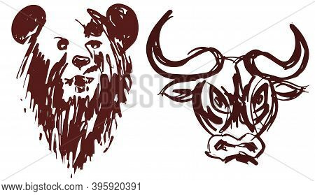 Hand Drawn Bear And Bull Heads Silhouette Isolated On White Background As A Symbol Of Bullish And Be