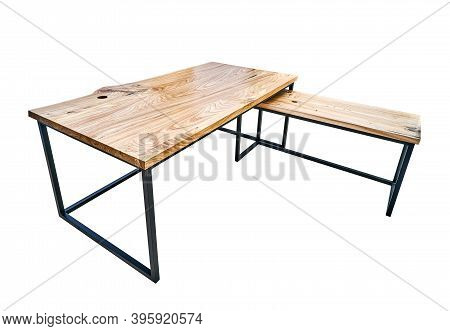 Live Edge Elm Desk With Metal Base On White Background