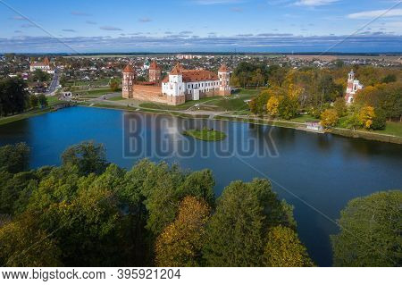 Aerial View Of Ancient Mir Castle In Minsk Region, Belarus. Famous Architecture In Central Europe Of