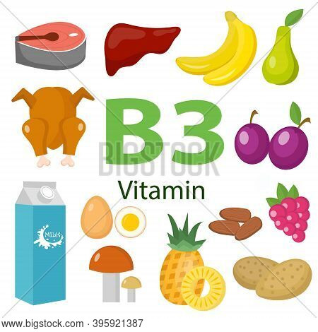 Vitamins And Minerals Foods .vector Set Of Vitamin Rich Foods. Vitamin B3 Meat, Spinach, Poultry, Fi