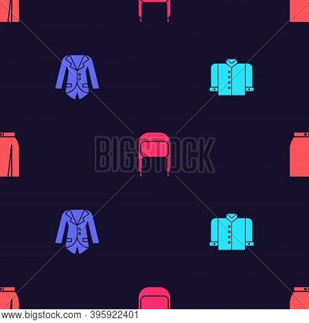 Set T-shirt, Blazer Or Jacket, Winter Hat With Ear Flaps And Skirt On Seamless Pattern. Vector