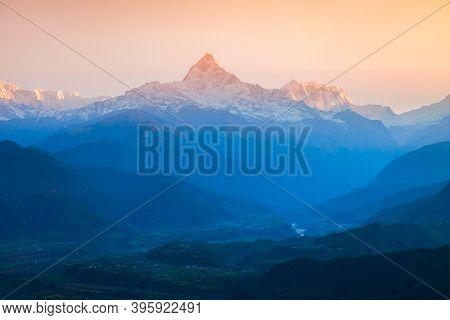Annapurna Massif Aerial Panoramic View From Sarangkot Hill Viewpoint In Himalayas Mountain Range In