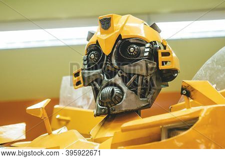 Moscow, November 21, 2020: Close-up Of The Head Of Bumblebee Character Of The Transformers Movie.