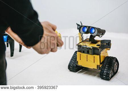 Moscow, November 21, 2020: Funny Wall-e Robot From Cartoon