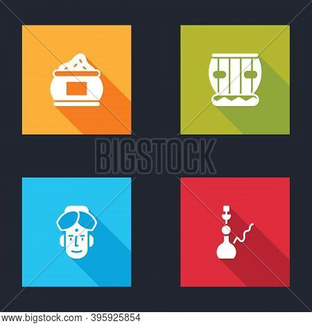 Set Indian , Instrument Tabla, Man And Hookah Icon. Vector