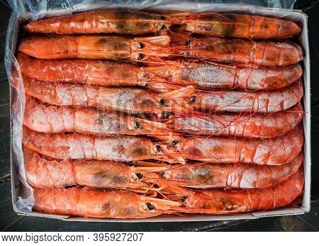 Lots Of Frozen Langoustines In A Box. Seafood Healthy.