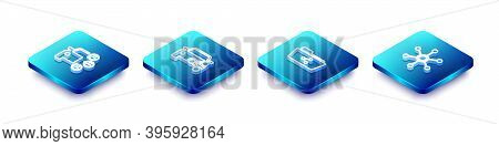 Set Isometric Line Car Sharing, , Share Folder And Network Icon. Vector