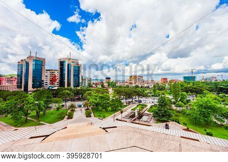 Tirana City Centre Aerial Panoramic View In Albania