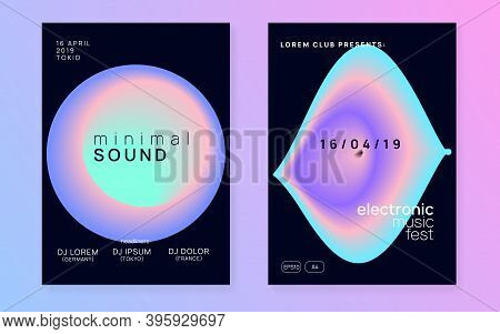 Music Poster Set. Dynamic Indie Club Banner Template. Fluid Holographic Gradient Shape And Line. Ele