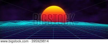 80s Background Retro Landscape. Futuristic Neon 1980s Style. Cyber Surface. Party Background. Retro