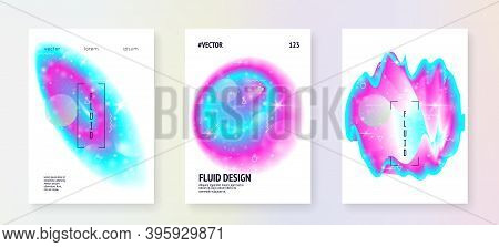 Galaxy Flyer. Galactic Science Banner Set With Planets, Sun, Deep Fluid Light. Holographic Gradients