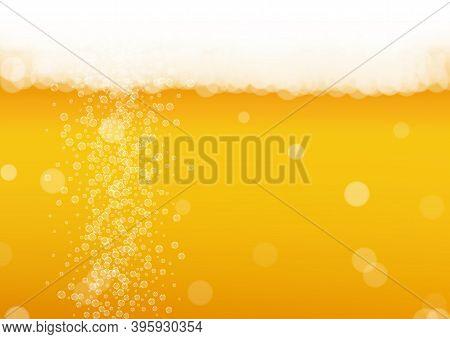 Beer Background. Craft Lager Splash. Oktoberfest Foam. Bavarian Pint Of Ale With Realistic White Bub
