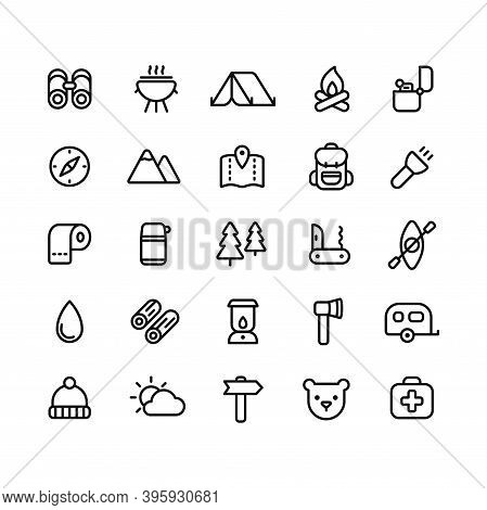Camping Icon Set. Simple Vector Line Icons Of Hiking, Backpacking And The Outdoors.