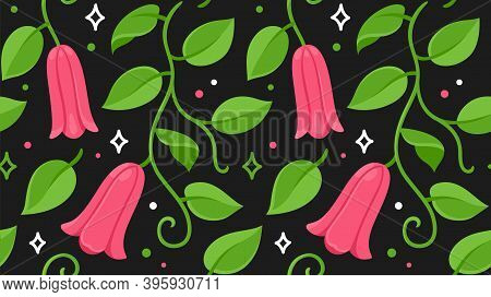 Copihue, Chilean Bellflower Seamless Floral Pattern. National Flower Of Chile. Vector Drawing On Dar