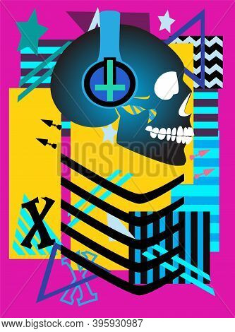 Robot Skull With Headphones And Inverted Cross, Abstract Background Vector