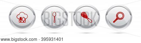 Set Line Chef Hat With Fork And Spoon, Spoon, Kitchen Whisk And Frying Pan. Silver Circle Button. Ve