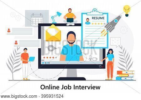 Job Interview Online Concept Vector. Employee Hiring Illustration. Interviewer Talking With Hr Speci