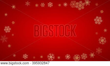 Christmas Snowflakes On Red Background. Horizontal Glitter Frame For Winter Banner, Gift Coupon, Vou