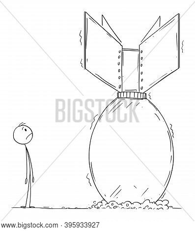 Vector Cartoon Stick Figure Illustration Of Scary Frustrated Man Looking At Nuclear Atomic Air Bomb
