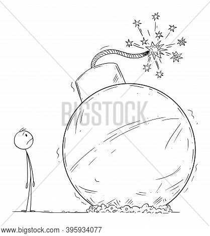 Vector Cartoon Stick Figure Illustration Of Scary Frustrated Man Looking At Retro Bomb Stick In Grou