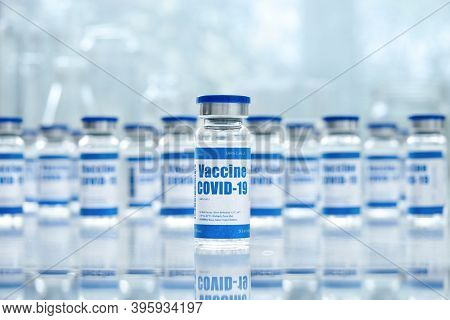 Covid 19 Corona Virus Vaccine Vial Bottles For Intramuscular Injections On Medical Pharmaceutical In