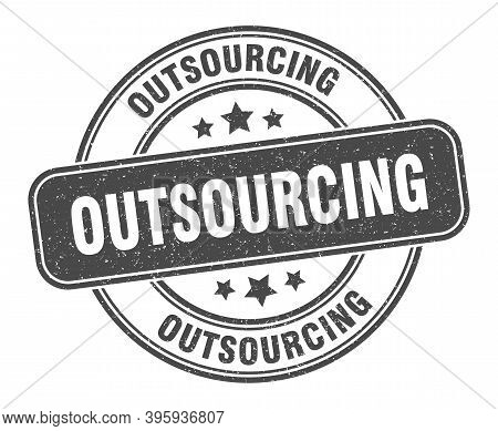 Outsourcing Stamp. Outsourcing Label. Round Grunge Sign