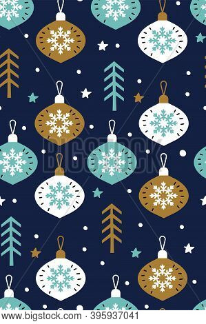 Snowflakes With Christmas Glass Balls Vector Seamless Pattern Isolated On Blue Background. Christmas
