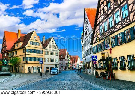 travel in Bavaria (Germany) - old town Dinkelsbuhl with traditionanal colorful houses. Famous route