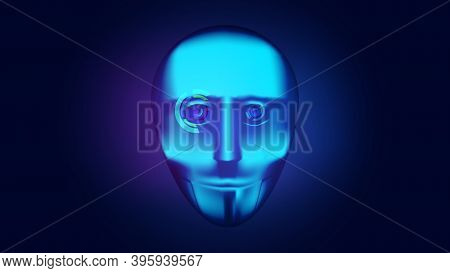 Cyborg Face With Digital Eyes. Future Technologies. Vector Illustration.