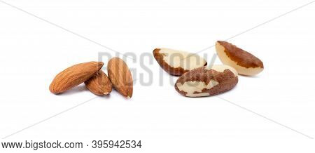 Healty Almond And Para Nuts Isolated On White Background